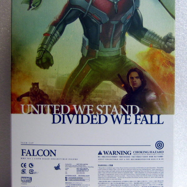 hot toys captain america civil war falcon box back