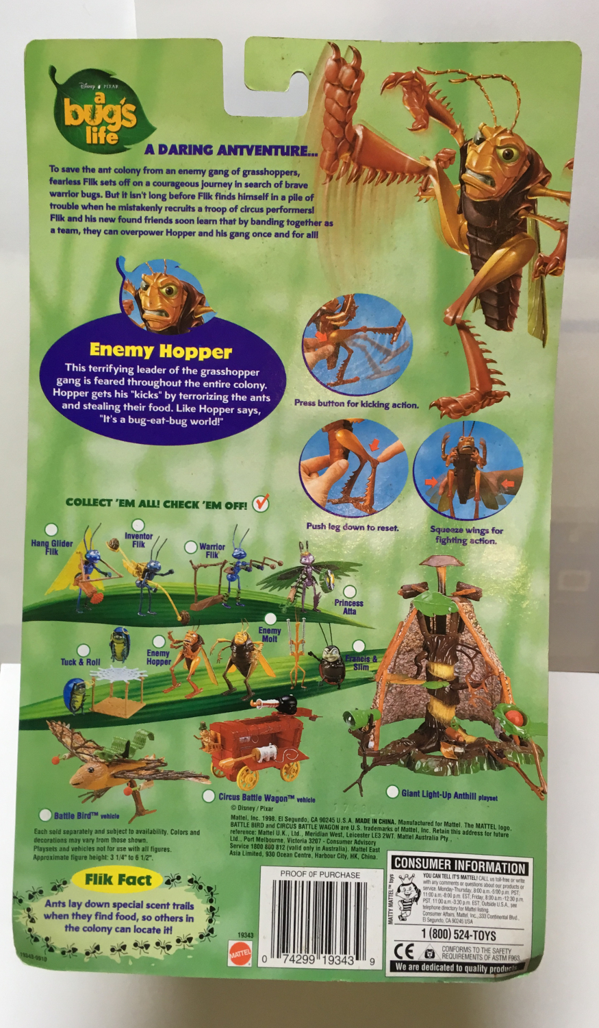 mattel a bug's life enemy hopper 2
