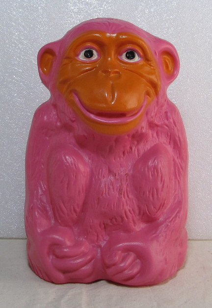 sitting monkey plastic coin bank 1