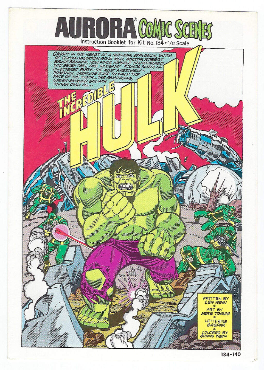 Aurora Comic Scenes Incredible Hulk Model Kit Comic Book & Instructions Booklet 1