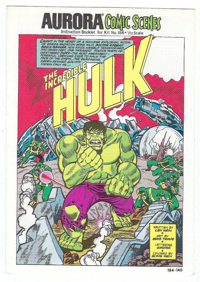 Aurora Comic Scenes Incredible Hulk Model Kit Comic Book & Instructions Booklet 1