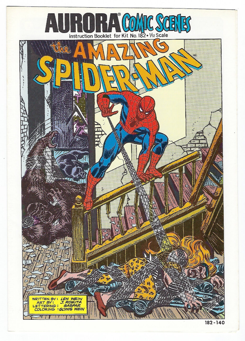 Aurora Comic Scenes Amazing Spider-Man Model Kit Comic Book & Instructions Booklet 1