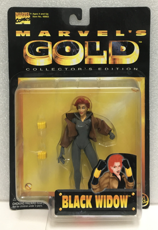 toy biz marvel's gold black widow action figure 1