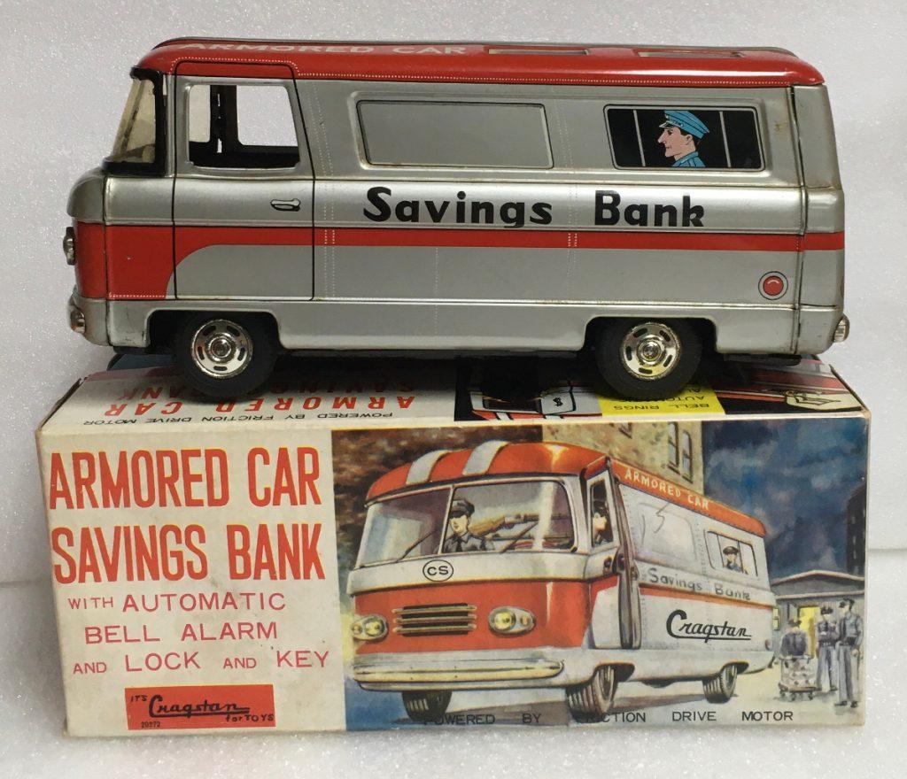 cragstan tin friction armored car savings bank 1