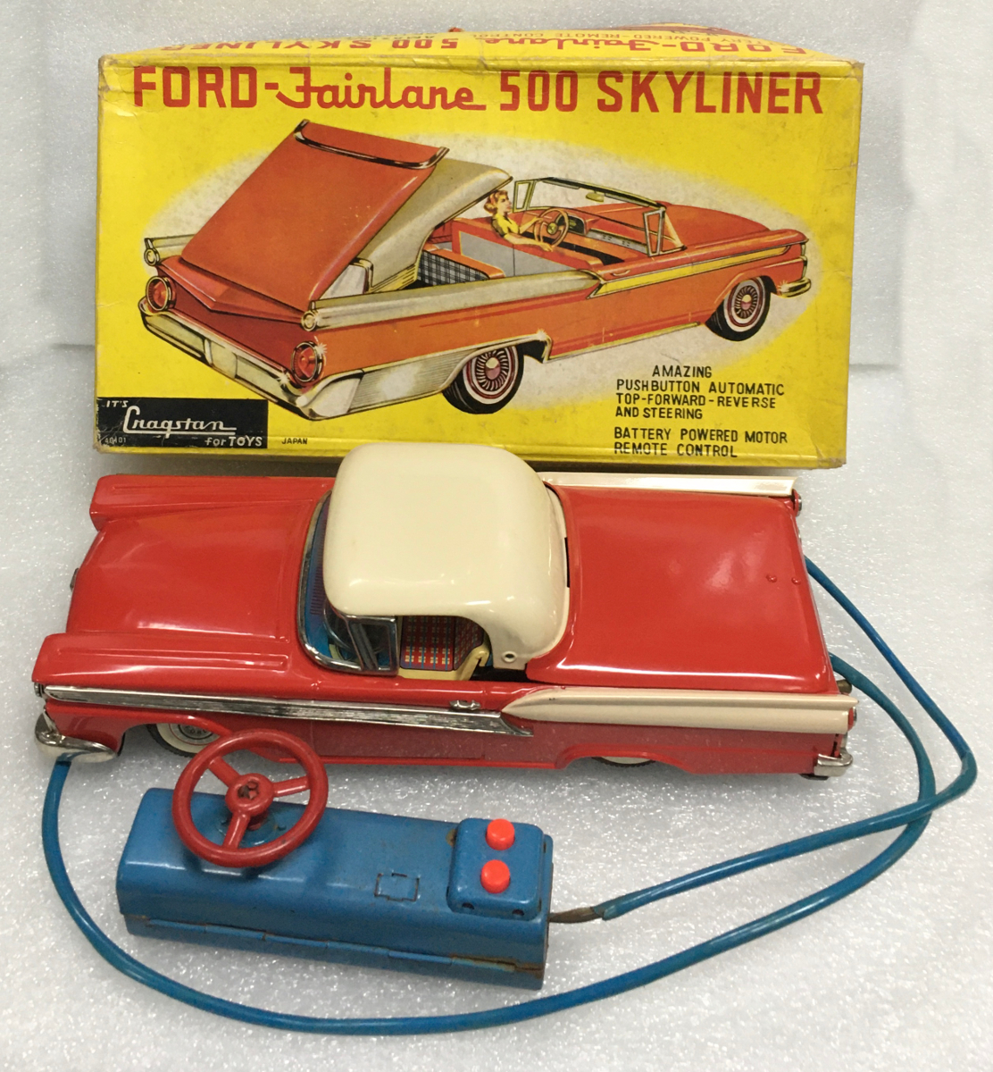 1950's cragstan ford fairlane 500 skyliner battery operated car 1