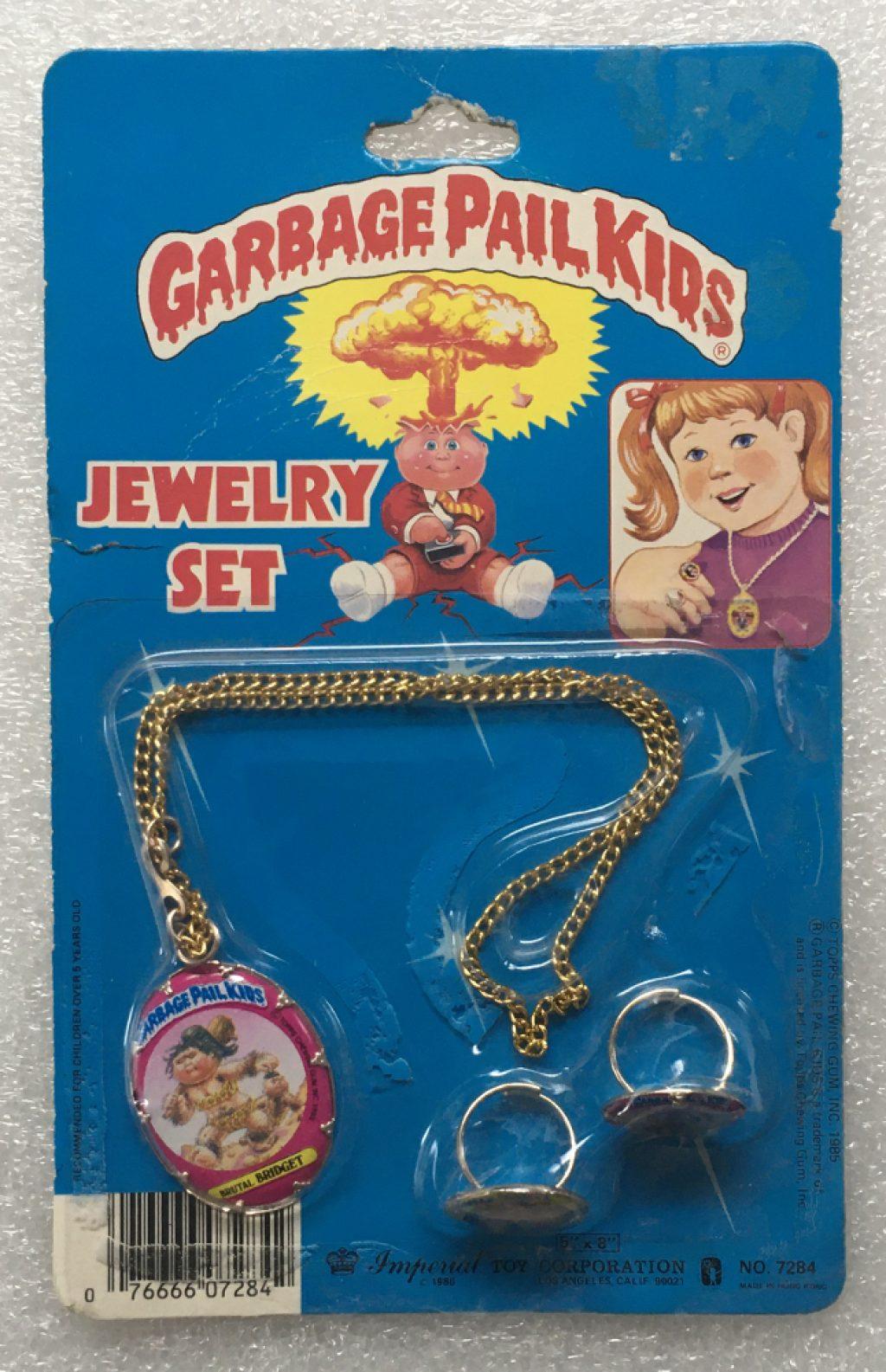 1985 Garbage Pail Kids Jewelry Set - Frigid Bridget, Slobby Robbie & New Wave Dave