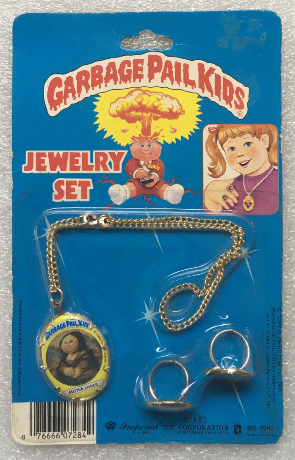 1985 Garbage Pail Kids Jewelry Set - Mona Loser, Blasted Billy & Unstitched Mitch: Sealed