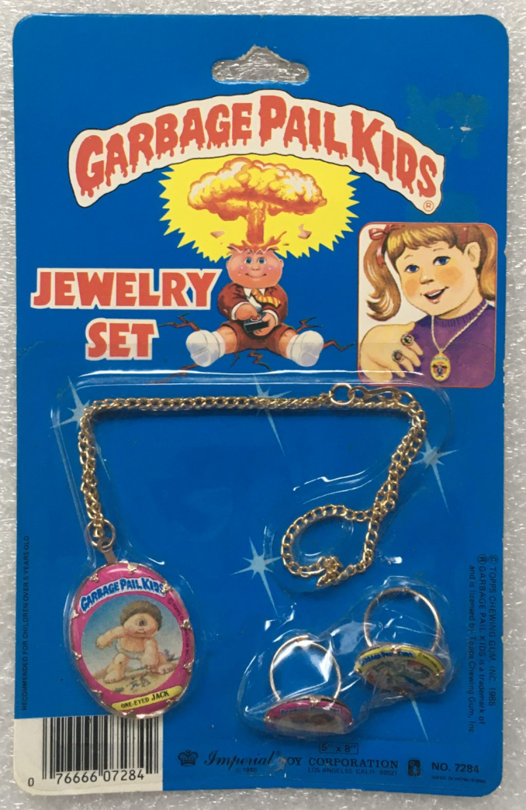 1985 Garbage Pail Kids Jewelry Set - One-Eyed Jack, Cranky Frankie & Charred Chad