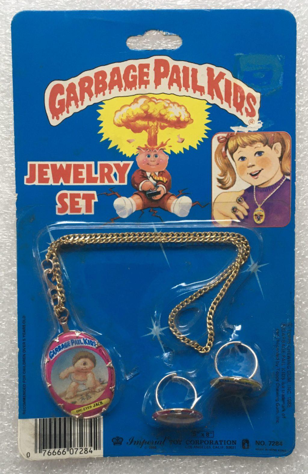 1985 Garbage Pail Kids Jewelry Set - One-Eyed Jack, Creepy Carol & Sweat Brett