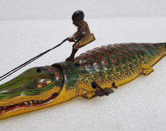 1930's J Chein Native Boy on Alligator Tin Litho Wind-Up