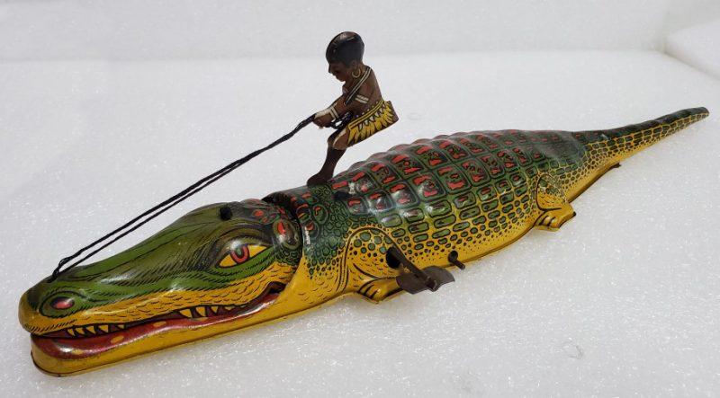 1930's J Chein Native Boy on Alligator Tin Litho Wind-Up 1